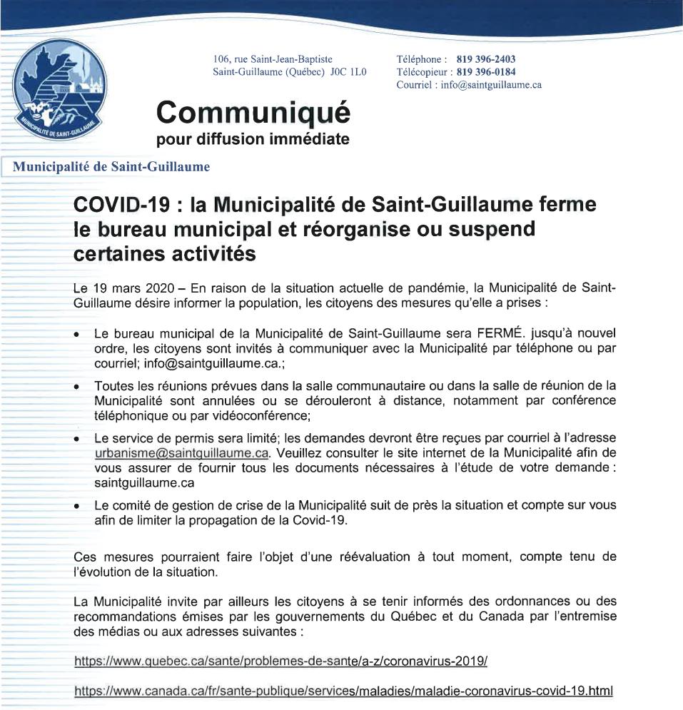 COVID-19 : La municipalité ferme le bureau municipal et réorganise ou suspend certaines activités